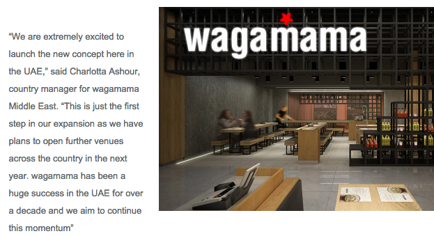 Hotel News Middle East – wagamama Palm Jumeirah Review – October 2015